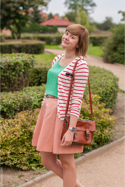 peach reserved skirt - tawny New Yorker bag - aquamarine H&M blouse