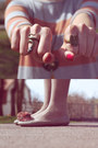 Light-orange-h-m-dress-silver-etorebka-bag-heather-gray-shoes-flats