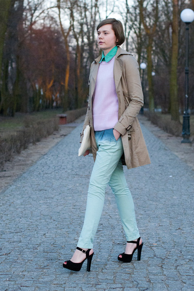 aquamarine Zara pants - light pink SH jumper - tan pull&bear cape