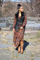 burnt orange Jessica Simpson boots - brick red H&M dress