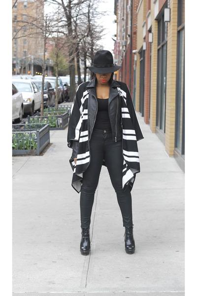 stretch jeans Zara jeans - wool Forever 21 hat - kimono H&M jacket