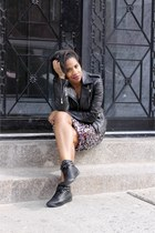 leather Lord & Taylor jacket - street style Reeboks sneakers - sequins H&M skirt
