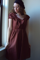 red fancy clothing dress - black thrifted hat