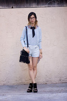 heather gray Topshop top - aquamarine Topshop sweater - black unknown bag