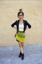 chartreuse unknown brand skirt - navy Urban Outfitters blazer