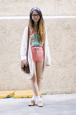 salmon American Apparel shorts - nude American Apparel shoes