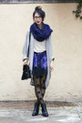 Dolce-vita-boots-asos-scarf-unknown-bag-american-apparel-cardigan