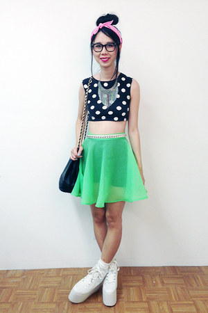 black Topshop top - white YRU shoes - lime green Nasty Gal skirt