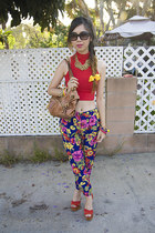 navy asos pants - brown B Makowsky bag - red American Apparel top