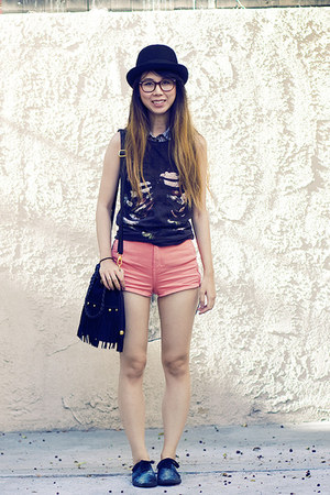 coral American Apparel shorts - black DIY shoes - heather gray Zara top