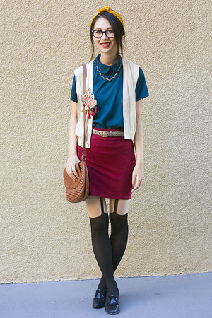 beige American Apparel vest - crimson American Apparel skirt