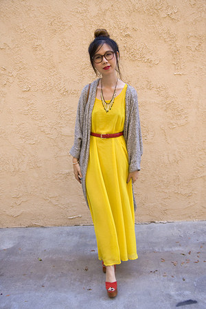 yellow American Apparel dress - heather gray American Apparel cardigan