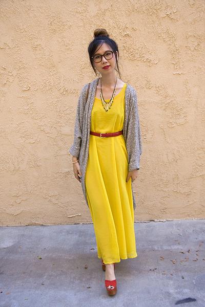 48057a40132 yellow American Apparel dress - heather gray American Apparel cardigan