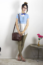 light blue American Apparel top - dark brown Urban Outfitters bag
