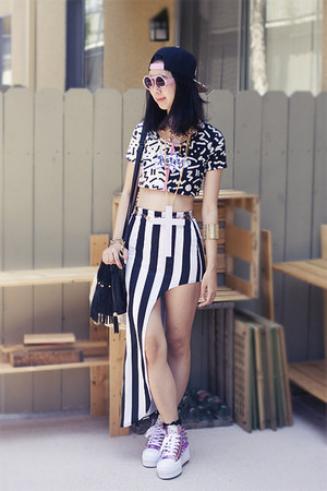 black Nasty Gal skirt - bubble gum UNIF shoes - black Japangeles hat