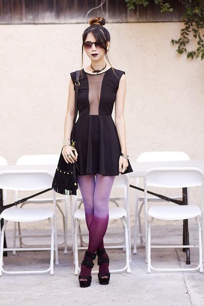 black Topshop dress - magenta Choies tights - black unknown brand bag