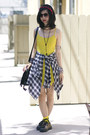 Black-goodwill-shirt-yellow-topshop-dress-black-shopakira-bag