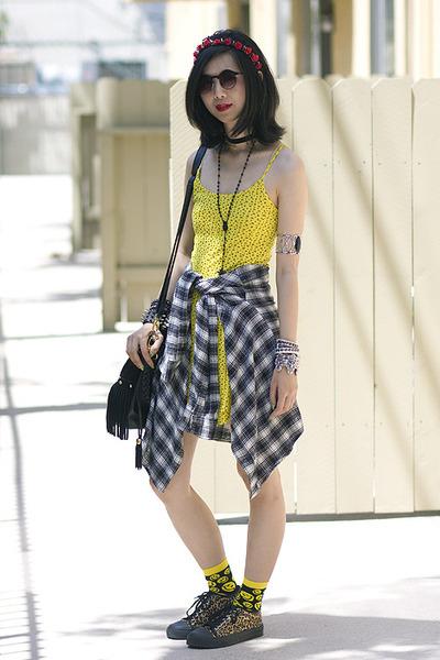 black Goodwill shirt - yellow Topshop dress - black shopakira bag