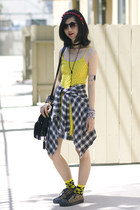 black Goodwill shirt - yellow Topshop dress - black shopakira bag