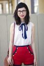 Red-asos-shorts-white-le-bunny-bleu-shoes-white-american-apparel-blouse