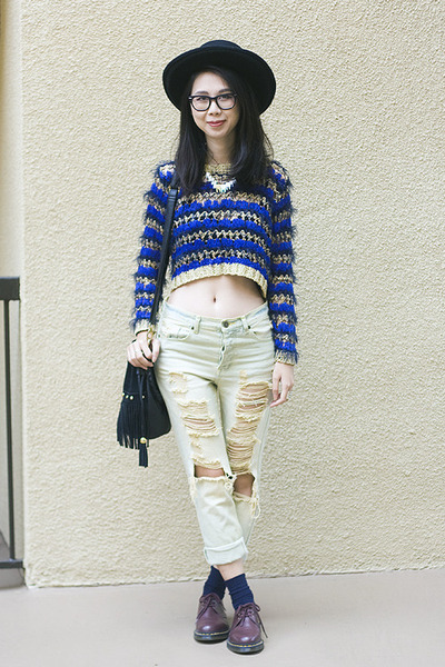 blue Nasty Gal sweater - brick red doc martens shoes - light blue UNIF jeans