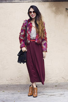 magenta Nasty Gal coat - tawny sam edelman boots - black unknown bag