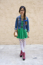 red Jeffrey Campbell wedges - green H&M dress - navy Urban Outfitters jacket