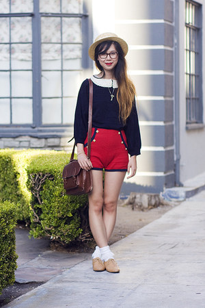 ruby red asos shorts - bronze American Apparel shoes