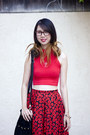Black-vintage-skirt-red-american-apparel-top-black-urban-outfitters-wedges