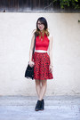 Red-american-apparel-top-black-vintage-skirt-black-urban-outfitters-wedges