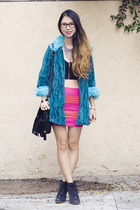 teal iron fist coat - black unknown bag - hot pink Sylk skirt