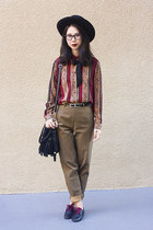brown vintage pants - black Nasty Gal hat - brick red vintage blouse
