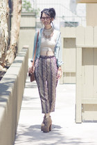 aquamarine unknown blouse - brown Urban Outfitters purse - tan unknown pants