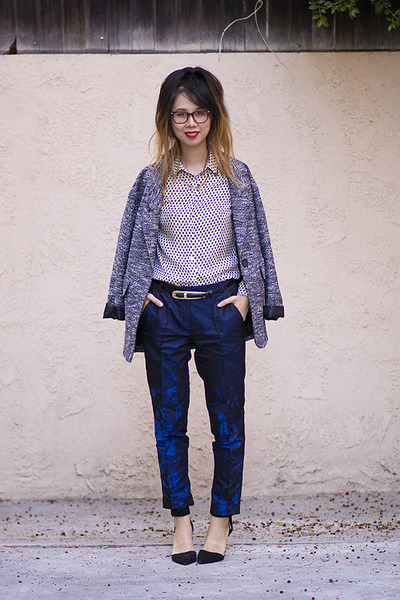 navy Topshop jacket - blue Zara top - navy asos pants - black unknown heels