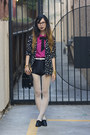 Black-nasty-gal-blazer-black-unknown-bag-black-american-apparel-shorts