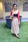 Bronze-b-makowsky-bag-red-h-m-cardigan-tan-american-apparel-skirt