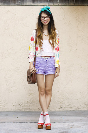 asos cardigan - dark brown Urban Outfitters bag - light purple MinkPink shorts