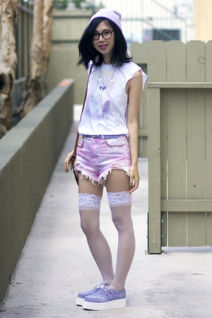 white DIY shirt - light purple TUK shoes - periwinkle Thank You Mart hat