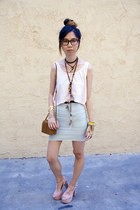 light pink American Apparel top - aquamarine American Apparel skirt