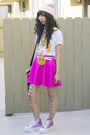 White-hot-topic-shirt-bubble-gum-unif-shoes-light-pink-glitter-bandits-hat