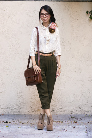 ivory Urban Outfitters blouse - dark brown Urban Outfitters bag
