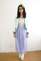 periwinkle American Apparel skirt - aquamarine LDS jacket - white Clumsy Cat top