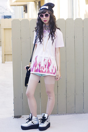 light pink Glitter Bandits shirt - silver UNIF shoes - black Glitter Bandits hat
