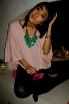 pink Topshop top - blue LF Store shorts - black Target tights - green f21 neckla