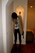 black f21 shorts - black balenciaga shoes - brown a&f cardigan - white Roscoes s