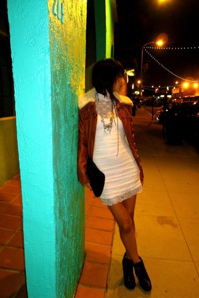 white f21 dress - silver BleachBlack necklace - black deux lux purse - brown Tar