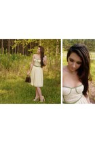 cream bustier Ruche dress - dark brown faux croc vintage bag