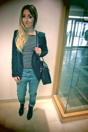 Zara boots - Zara jeans - Zara blazer - vintage bag - BCBG top