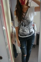 forever 21 t-shirt - zipia jeans - from boyfriend necklace