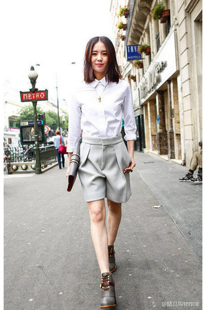 off white shorts - white blouse
